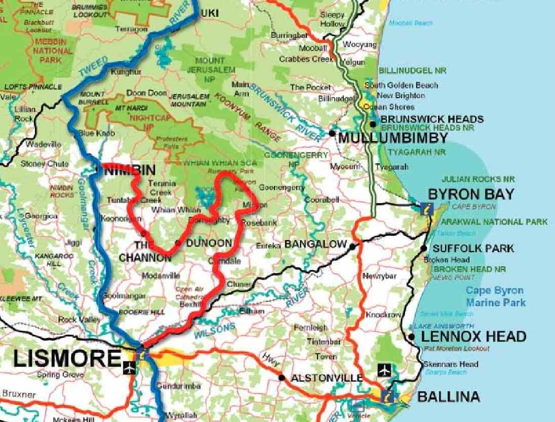 Map Of Australia And Surrounding Areas.Map Of Northern Rivers Region